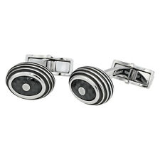 Montblanc Iconic Stainless Steel and Black Carbon Cufflinks 111312