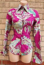HAWES & CURTIS MAGENTA PAISLEY GREEN BUTTONED LONG SLEEVE FIT T SHIRT TOP 6 XS