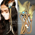 Indian Turquoise Bead Leather Crown Feather Navajo Zuni Head Hair Dress Band Tie