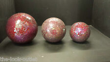 SET OF 3 MOSAIC GLASS RED/MULTI BALLS 8cm, 10cm and 13cm