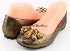 ENZO ANGIOLINI CASLYNN Bronze Leather Designer Shoes Jeweled Ballet Flat 8.5