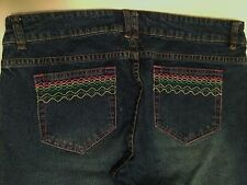 Womens LILLY PULITZER Stretch Embroidered Dark Wash JEANS Size 8 (34 X 32) EUC