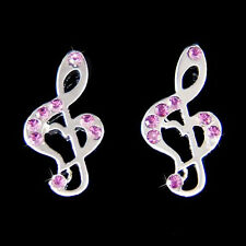 w Swarovski Crystal Purple Treble Clef Heart Music Note Musical Jewelry Earrings