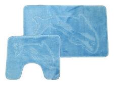 Azul Cielo 2 Pc Dolphin Alfombra De Baño Y Pedestal Set Baño De Lujo Luz Baby pálido