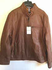 NWT COLE HAAN Men Leather Jacket With Quilted Lining Brown Sz XXL