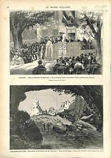 AVIGNON FETE Francesco Petrarca Pétrarque / Fontaine de Vaucluse La Sorgue 1874