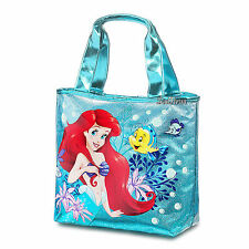 Ariel Flounder Swim Beach Bag Purse Green Glitter PVC Tote 12 x 16 Disney Store