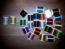 36 SPOOLS SIZE D GUDEBROD & PAC BAY ROD BUILDING METALLIC THREAD UPDATED COLORS