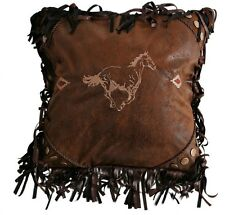 Embroidered Running Horse Pillow - Rivets & Rope Trim - Western - Free Shipping