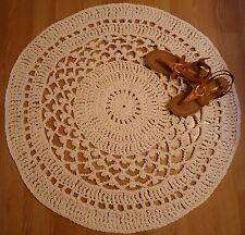 New Crochet Lace Mesh Cotton Round Rug 36 inch by QuirkyMamaStyle