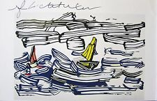 ABSTRACT NAUTICAL ROY LICHTENSTEIN * SAILBOATS * HAND SIGNED PRINT W/COA