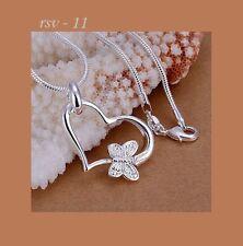 Halskette Collier Kette 925 Silber pl. Geschenkidee Schmetterling Herz Muttertag