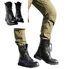 US Size 5-11 New Black Combat Leather Lace Up Mens Military Ankle Boots Shoes Z