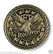 Antiqued Bronze VETS IN RECOVERY AA/NA 12 Step Recovery Program Coin/Token/Chip