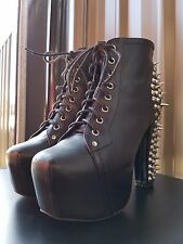 Jeffrey Campbell Lita Spike Platform Booties Boots Leather Lace Up Size 8.5