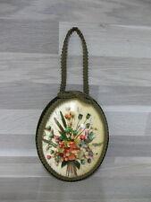 Vintage oeil de boeuf - fleurs immortelles - kader met bol glas - droogbloem