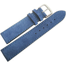 20mm Mens Fluco Royal Blue Suede Leather Made in Germany Watch Band Strap