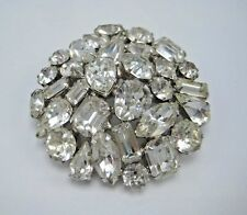 Vintage 50s Large Weiss Rhinestone Brooch Clear Prong Set Round Signed