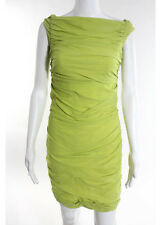 MOSCHINO Chartreuse Green Sleeveless Above Knee Ruched Detail Silk Dress Sz 8