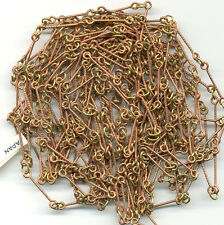 Vintage Copper Plated Chain Long Twisted Links w/ Brass Rings 20 Ft Japan