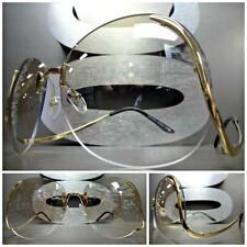 OVERSIZE VINTAGE RETRO Style SUNGLASSES Upside Down Gold Frame Mirror Clear Lens