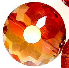 18mm Faceted Orange Crystal Quartz Coin Loose Beads 10pcs