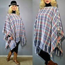 Vtg 70's FRINGED Plaid Boho Hippie Indian Festival Blanket PONCHO Jacket CAPE