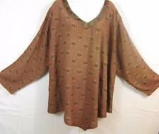 T260~TIENDA HO~Brown~ART DECO~Nothing Matches~Decon~Asym Top~EMBROIDERED~OS