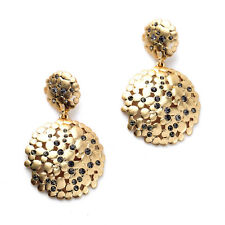 Signature Anthropologie Chroma Abstract Hammered Plate Rhinestone Gold Earring
