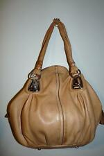 B.Makowsky Soft Beige Leather Hobo Satchel Bag