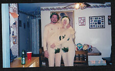 Old Vintage Photograph Man & Woman Dressed As Adam & Eve on Halloween 1998