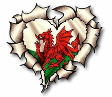 Ripped Torn Metal Look HEART Welsh Dragon Wales CYMRU Flag vinyl car sticker