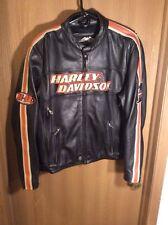Harley Davidson Men's Rare Torque Orange Stripes Black Leather Jacket Large (L)
