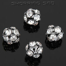 20pcs 8mm Crystal Metal Spacer Loose Beads Charm Hollow Rondelle Pave Disco Ball