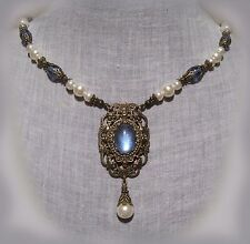 BRASS FILIGREE LT. SAPPHIRE BLUE WHITE PEARL GLASS NECKLACE RENAISSANCE TUDOR