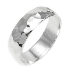 CLOSEOUT! Sterling Silver Stylish 6mm Hammered Bang Ring Size 7