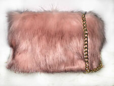 Ladies Fluffy Faux Fur Elegant Peach Clutch Evening Party Prom Stylish handbag