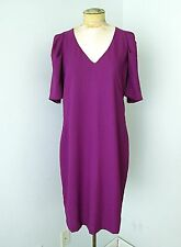 NWT H&M Purple Mauve V-Neck Knit Shift Dress Pleated Puff Sleeves Exposed Zip 14