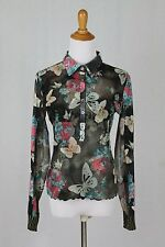 ANAC Anthropologie Floral Butterfly Print Stretch Mesh Long Sleeve Blouse L NWOT