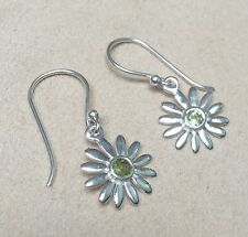 925 Sterling Silver Daisy Drop Earrings with Real Peridot Stones and Gift Box