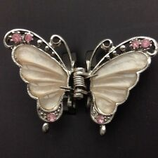 A Stunning Metal Pink Butterfly Claw Clip For Hair