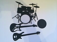 DIE CUT CARD ELECTRIC GUITAR BASS DRUMS KIT ROCKSTAR MUSIC NOTES CROTCHET QUAVER