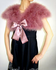 Ostrich Feather Bolero Shrug Fur Formal Jacket Wedding Bridal Bridesmaid Mauve