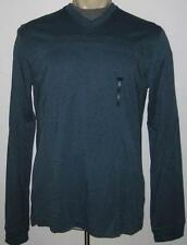 NEW 4XL VAN HEUSEN MENS LONG SLEEVE V-NECK SHIRT Blue Teal Tee 4X 4XB