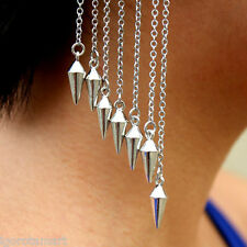 New Retro Punk Rivet Tassels Spike Ends Ear Cuff Drop Dangle Earring No Piercing