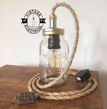 NEW KILNER MASON JAR DESK LIGHT BEDSIDE TABLE LAMP INDUSTRIAL ROPE TWIST CABLE