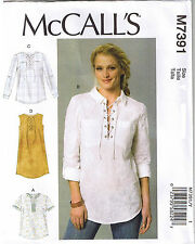 Easy Laced Up Split Neck Tops Dress McCalls 7391 Sewing Pattern L XL XXL 16-26