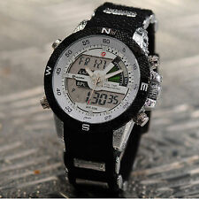 SHARK Mens Fashion LCD Digital Analog Rubber Day Date Sport Quartz Wrist Watch