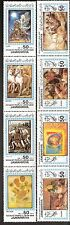 Libya 1983 Art Painting Gauguin Rubens Raphael 2 Strips of 4 MNH (SC# 1108-1109)