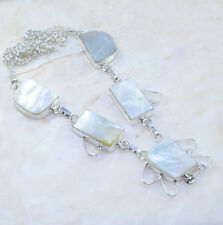 "Handmade Mother of Pearl Abalone Shell 925 Sterling Silver Necklace 17.5"" AA1002"